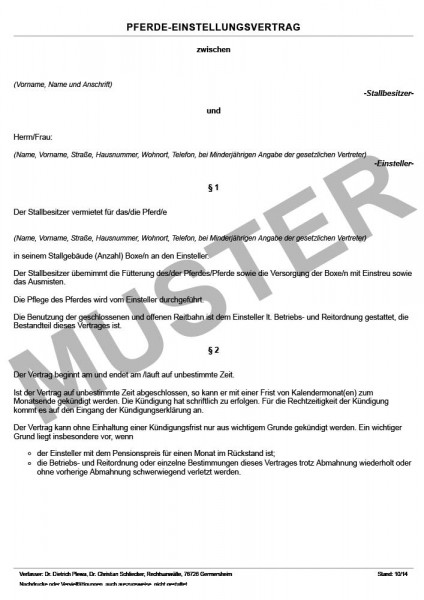 Pferdeeinstellungsvertrag Standard