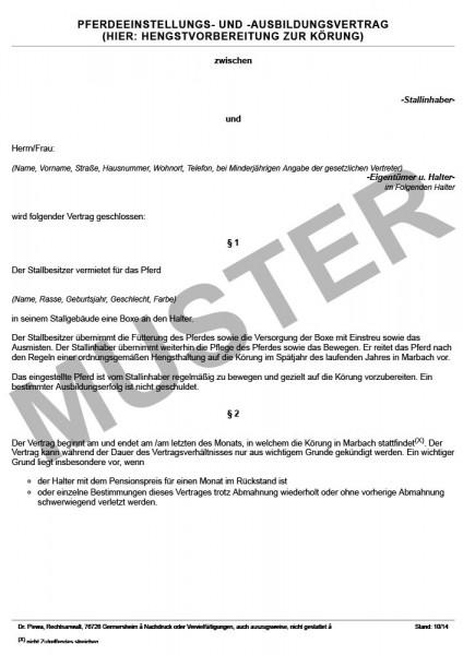 Pferdeeinstellungs- und Ausbildungsvertrag, Hengstvorbereitung zur Körung