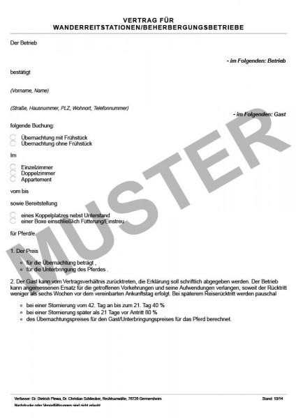 Vertrag für Wanderreitstationen-Beherbergungsbetrieb