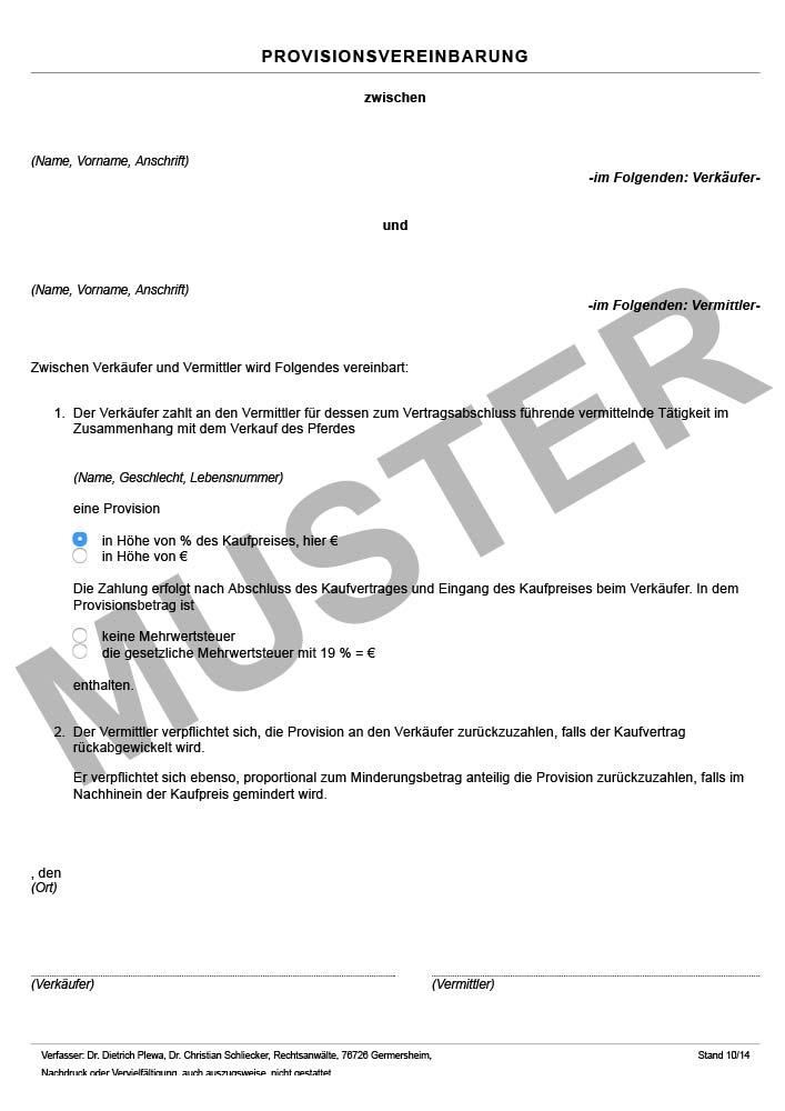 Provisionsvereinbarung Vertrage Rund Ums Pferd Buchshop