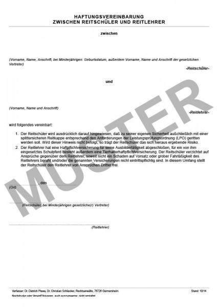 Haftungsvereinbarung zwischen Pferdehalter und Reitschüler und Reitlehrer